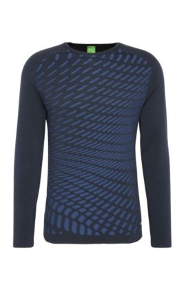 Patterned slim-fit knitted sweater in cotton: 'Ramo', Dark Blue