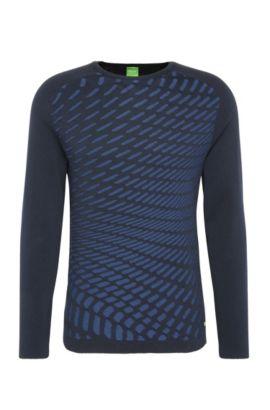 Jersey de punto slim fit estampado en algodón: 'Ramo', Azul oscuro