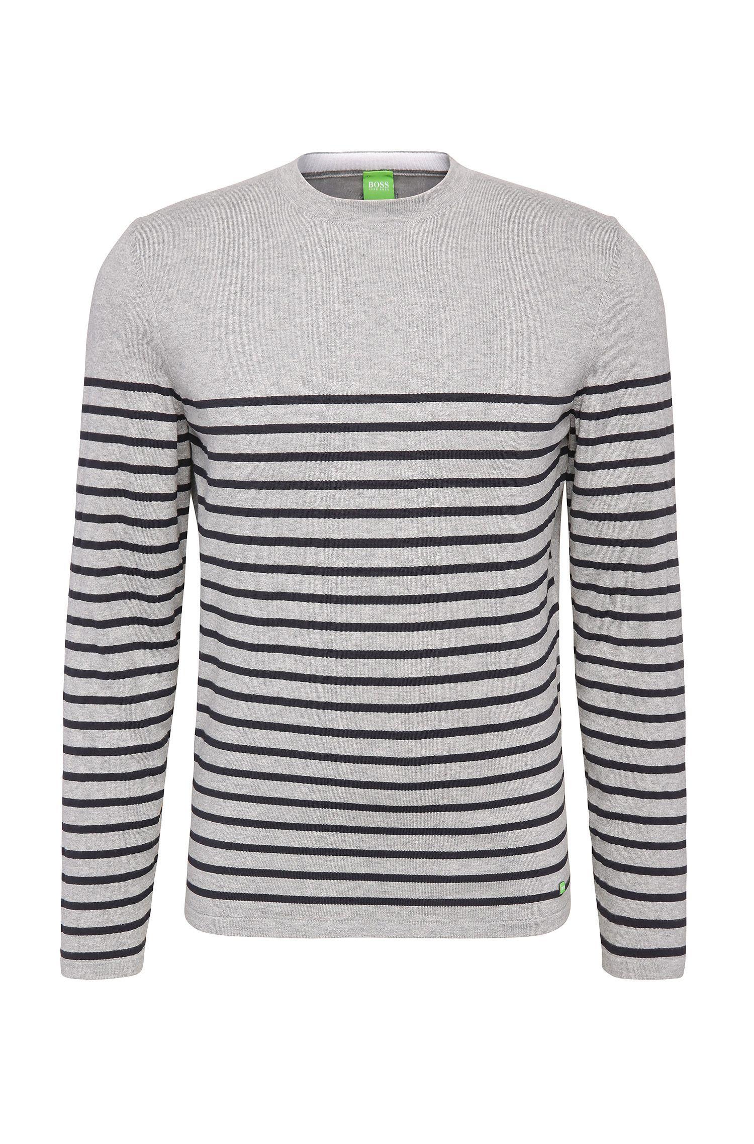 Slim-Fit Pullover aus elastischem Baumwoll-Mix mit Streifen: ´Rema`