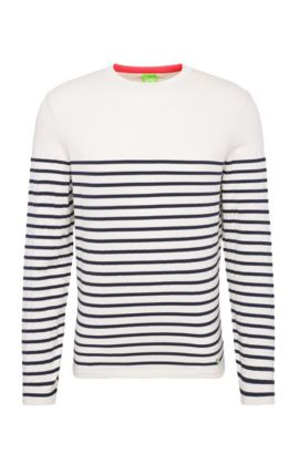 Slim-fit sweater in a stretch cotton blend with stripes: 'Rema', Light Beige