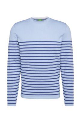Pull Slim Fit en coton mélangé extensible, à rayures: «Rema», Bleu vif