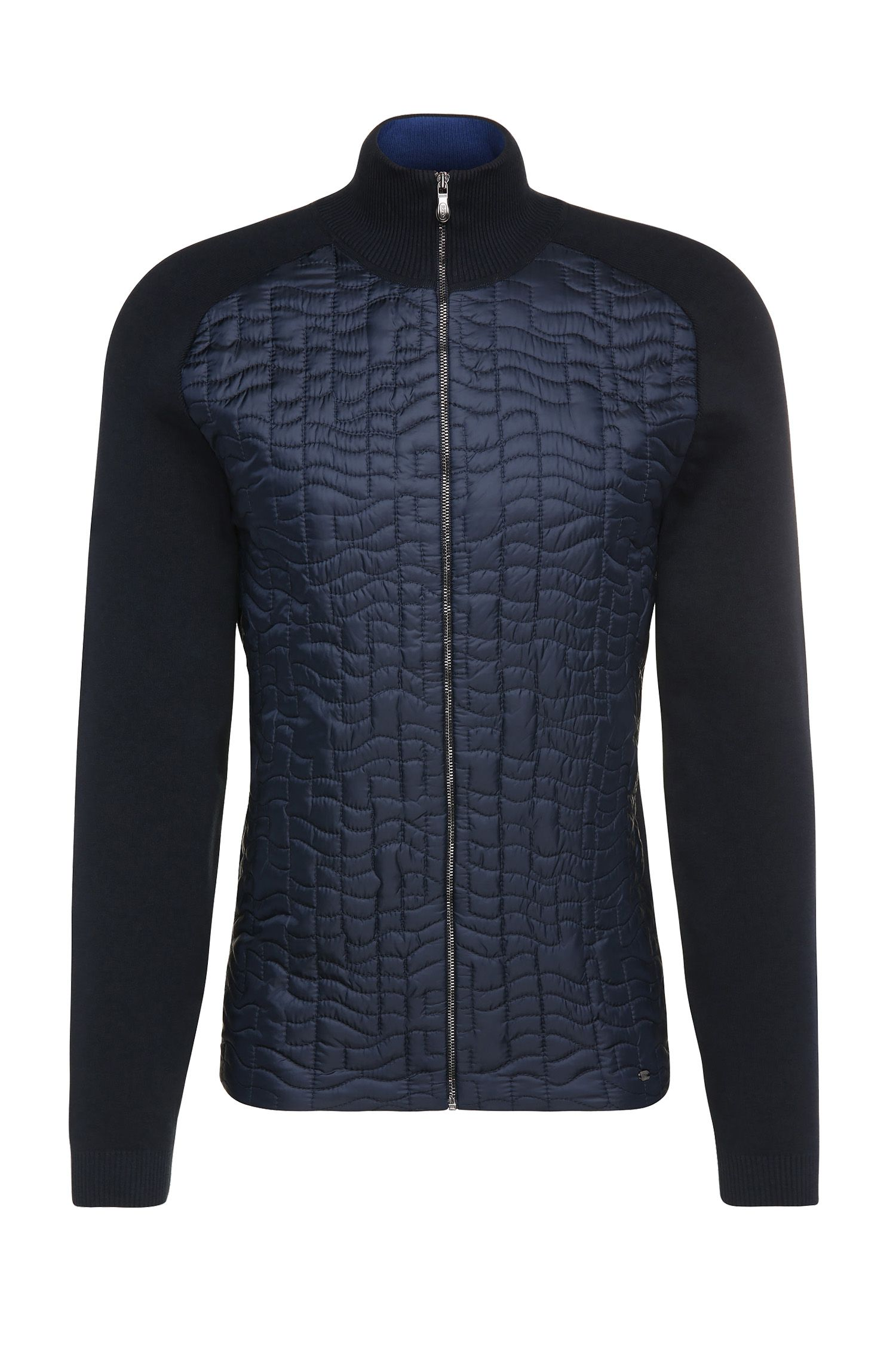 Regular-fit gebreid vest van een katoenmix met stretch met doorgestikt garneersel: 'Zina'