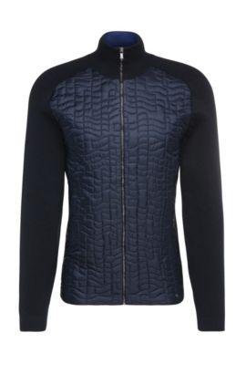 Regular-fit gebreid vest van een katoenmix met stretch met doorgestikt garneersel: 'Zina', Donkerblauw