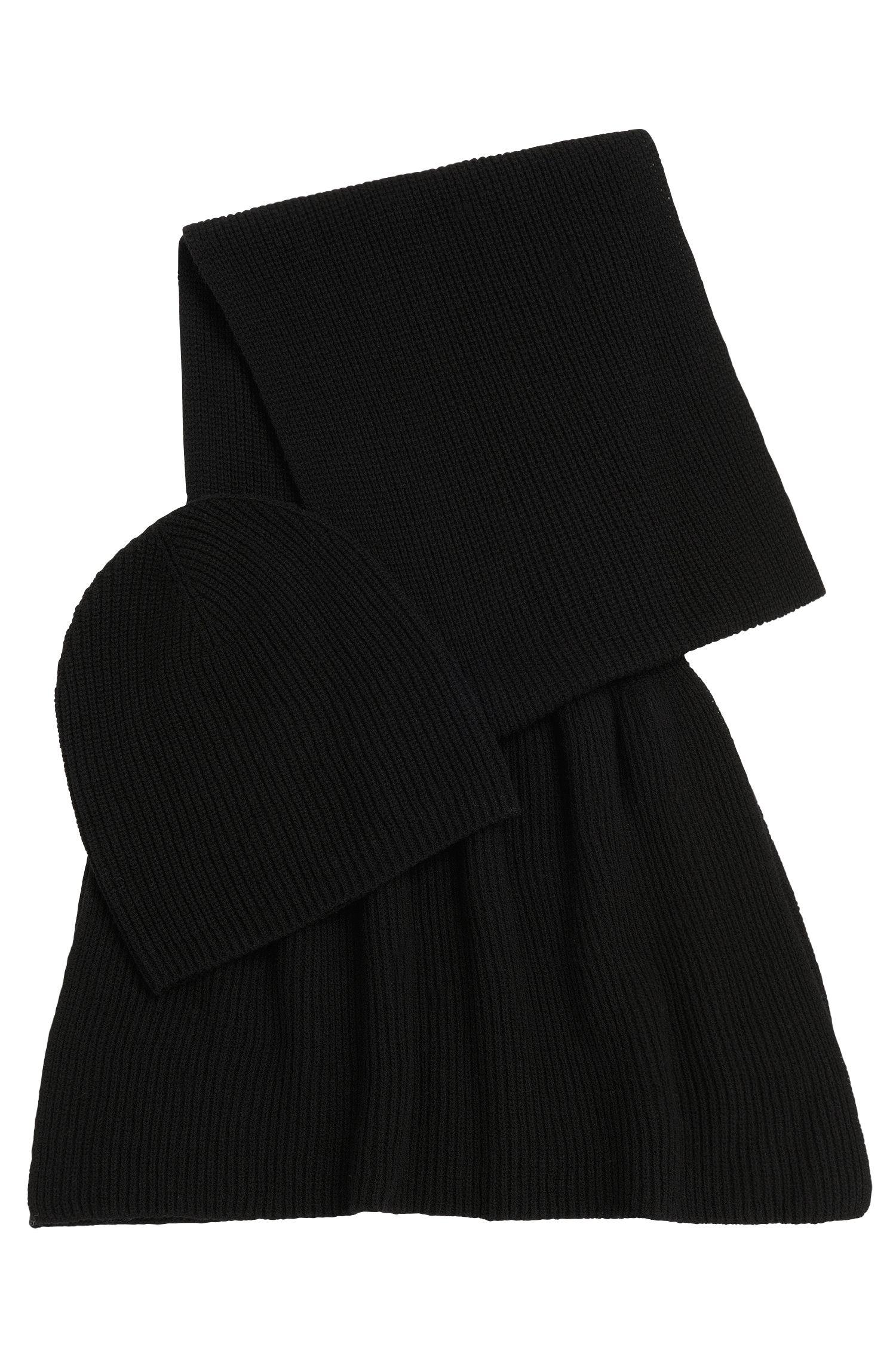 Ensemble écharpe et bonnet en laine vierge mélangée à du cachemire: «Layla_Giftset»