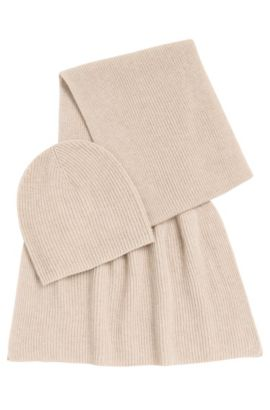 Scarf and beanie set in a new-wool blend with cashmere: 'Layla_Giftset', Light Beige