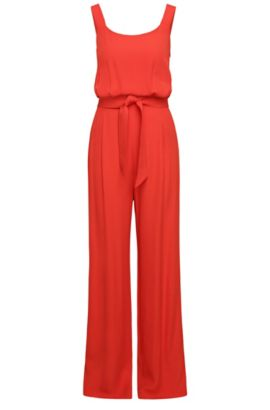 Jumpsuit with strap top in a flowing material blend with viscose: 'Akily', Red