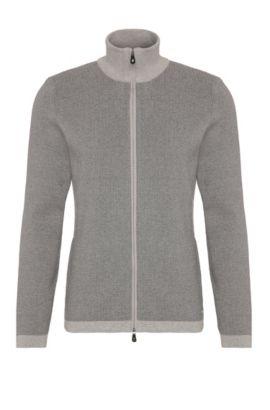 Cardigan in cotone con zip: 'Zim', Grigio chiaro