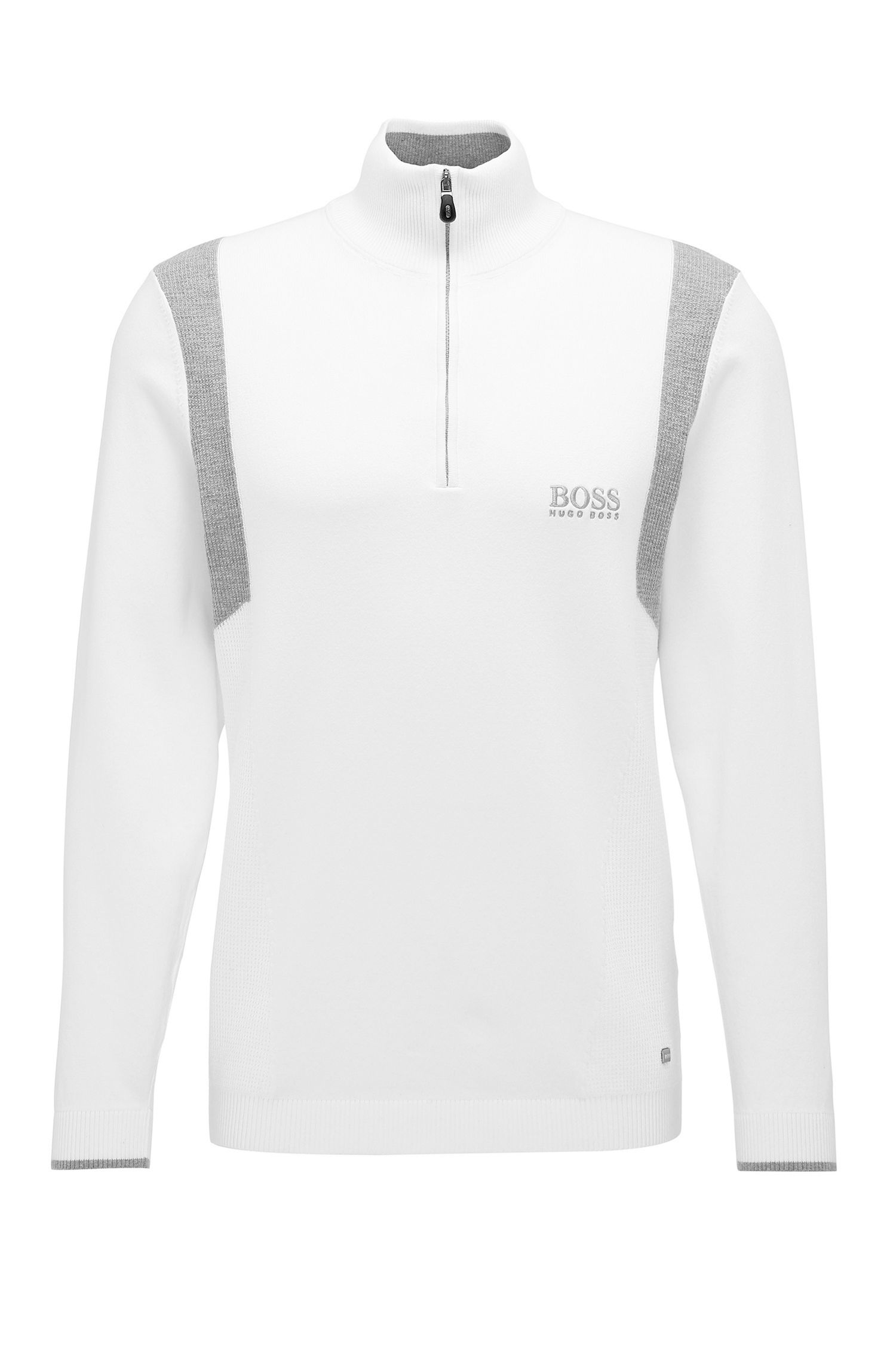 Regular-Fit Funktions-Pullover aus elastischem Baumwoll-Mix: ´ZelchiorProS17`