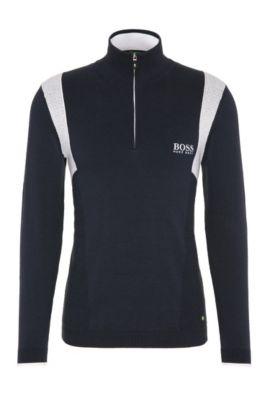 Jersey funcional regular fit en mezcla de algodón elástico: 'ZelchiorProS17', Azul oscuro