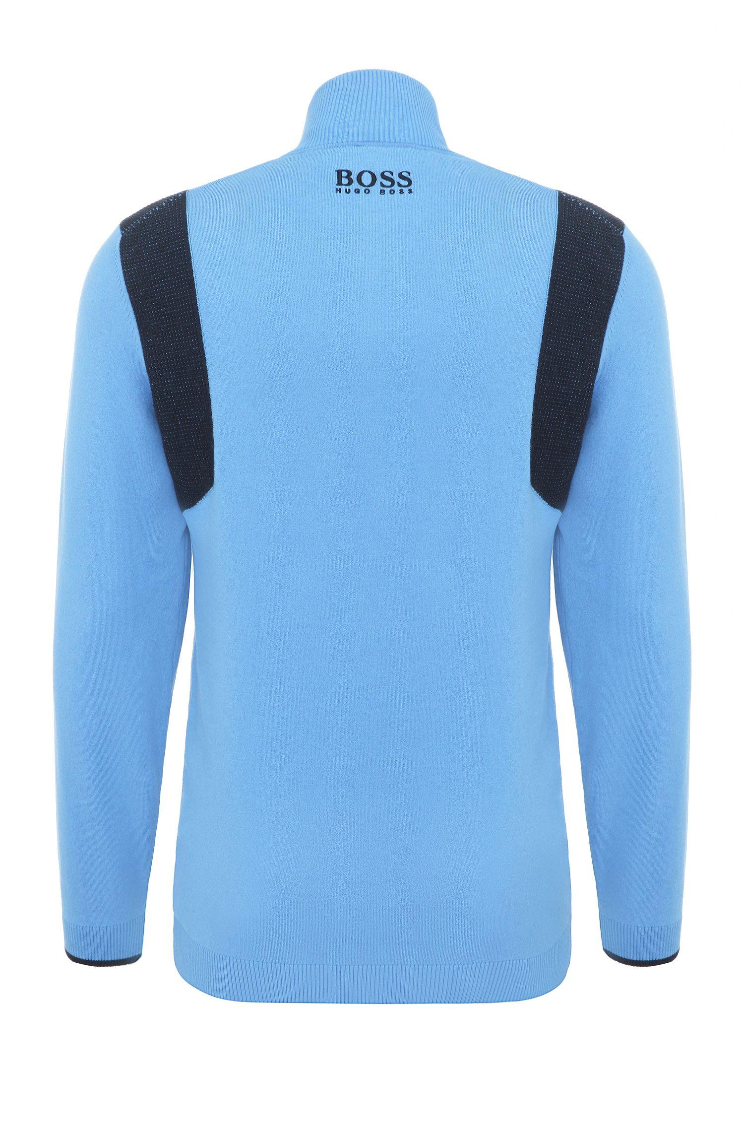 Maglione funzionale regular fit in misto cotone elasticizzato: 'ZelchiorProS17', Blu