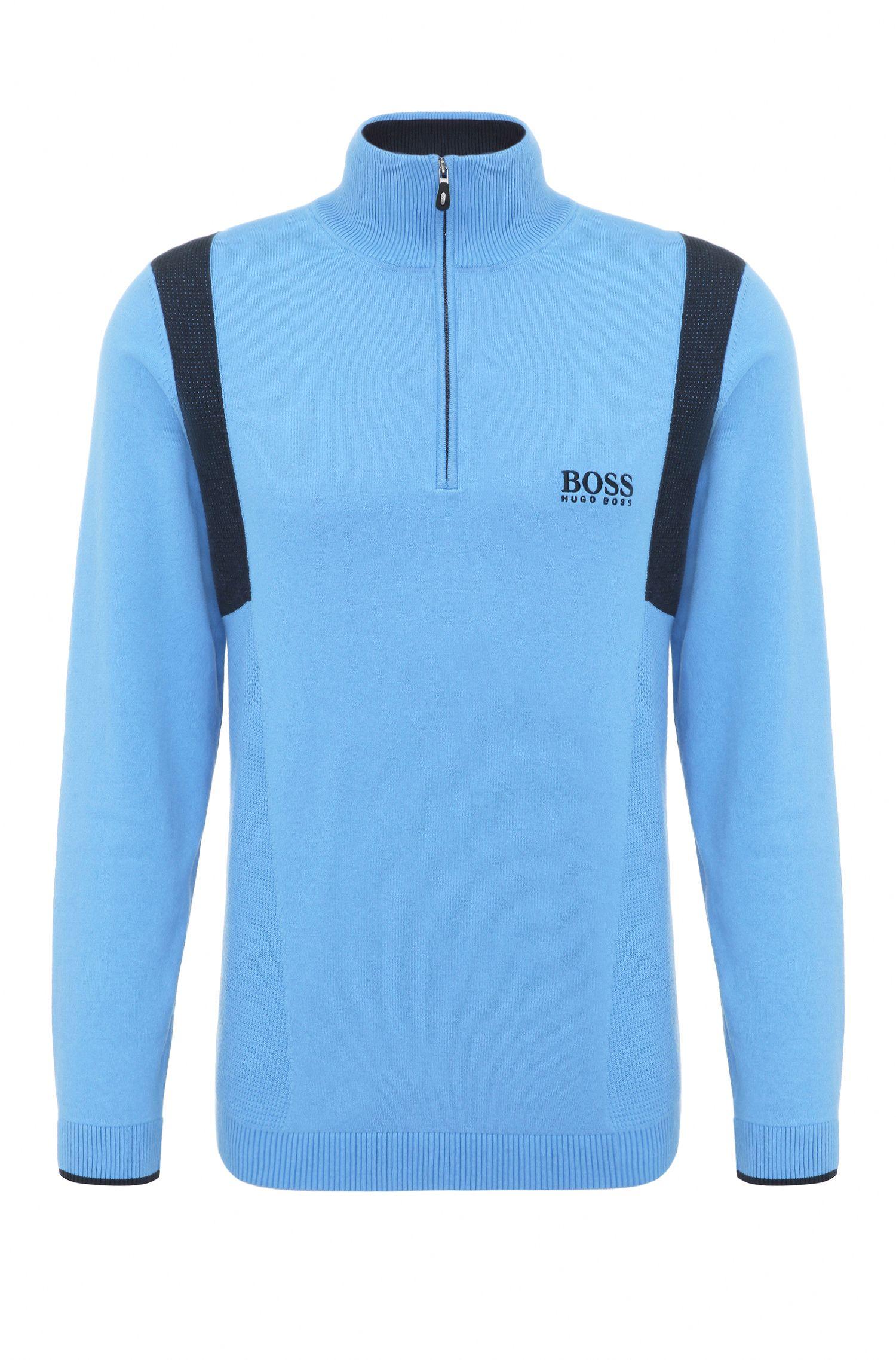 Regular-fit functional sweater in stretch cotton blend: 'ZelchiorProS17'