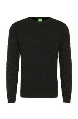 Plain knitted sweater in stretch cotton blend: 'Rout', Black