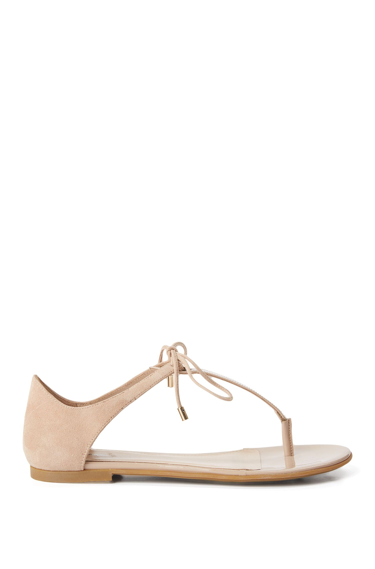 Leather toe-separator sandals with lacing detail: 'Felicity'