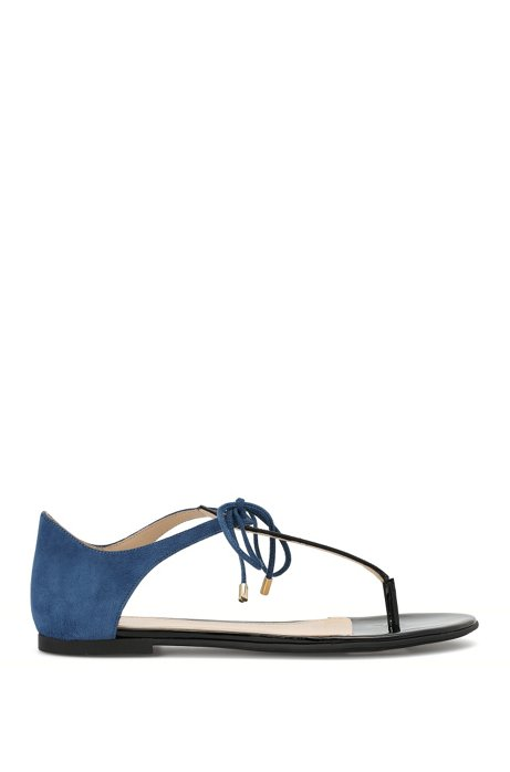 Leather toe-separator sandals with lacing detail: 'Felicity', Blue
