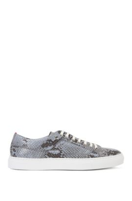 Leather trainers with python embossing: 'Corynna-Sl', Light Blue