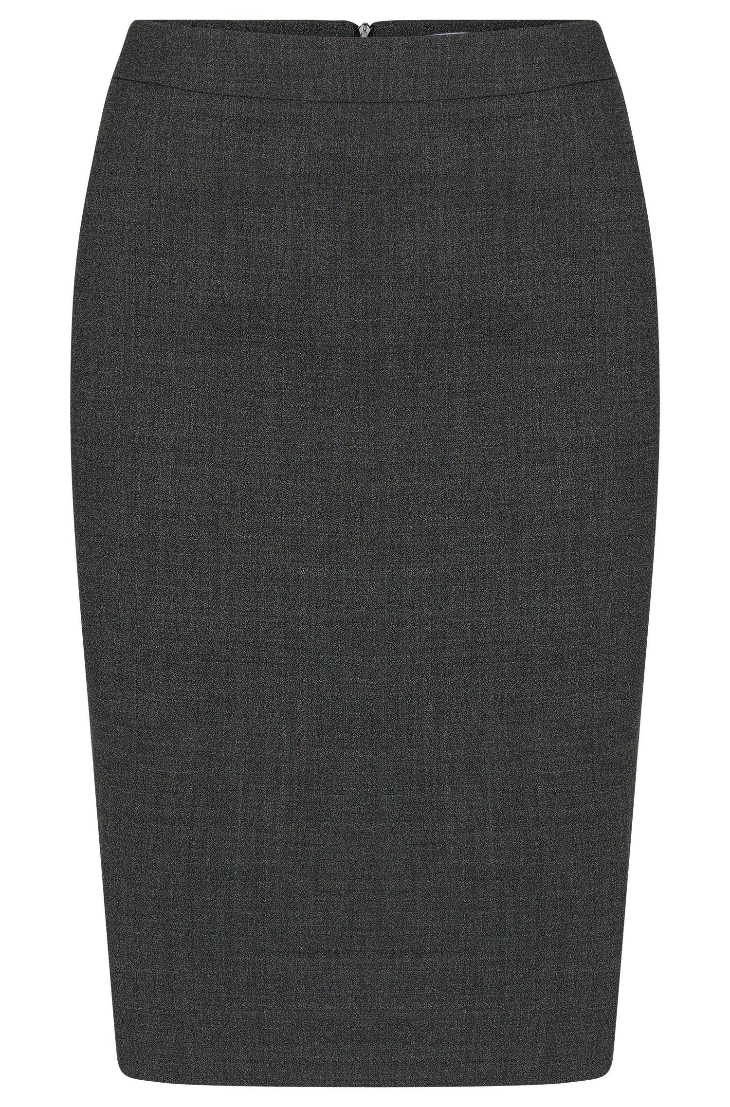 Gemêleerde kokerrok van scheerwol met stretch: 'Vimena'