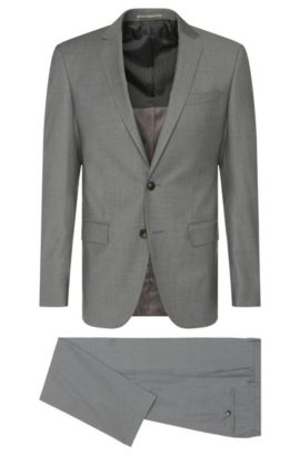 Costume Slim Fit finement chiné, en laine vierge : « Huge5/Genius3 », Gris
