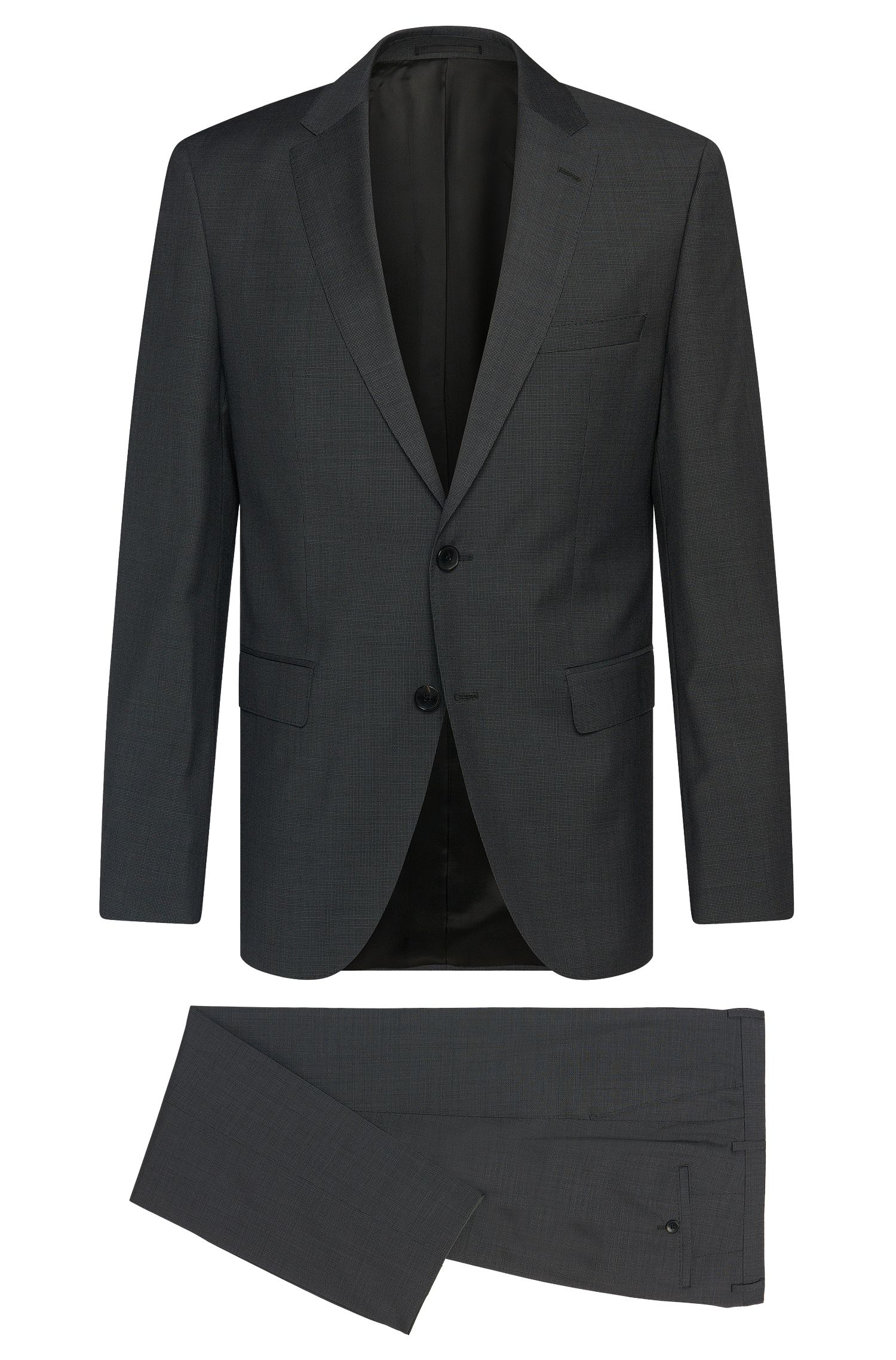 Finely patterned regular-fit suit in new wool: 'Johnston2/Lenon'