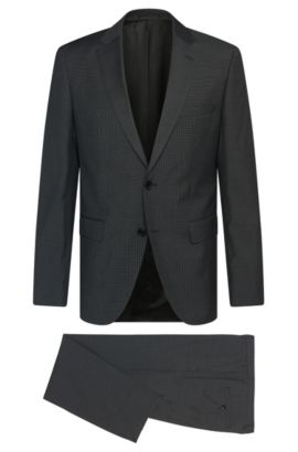 Finely patterned regular-fit suit in new wool: 'Johnston2/Lenon', Grey