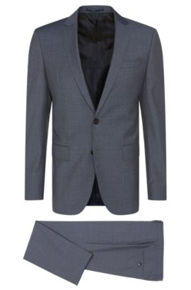 Finely textured slim-fit suit in new wool: 'Huge5/Genius3', Blue