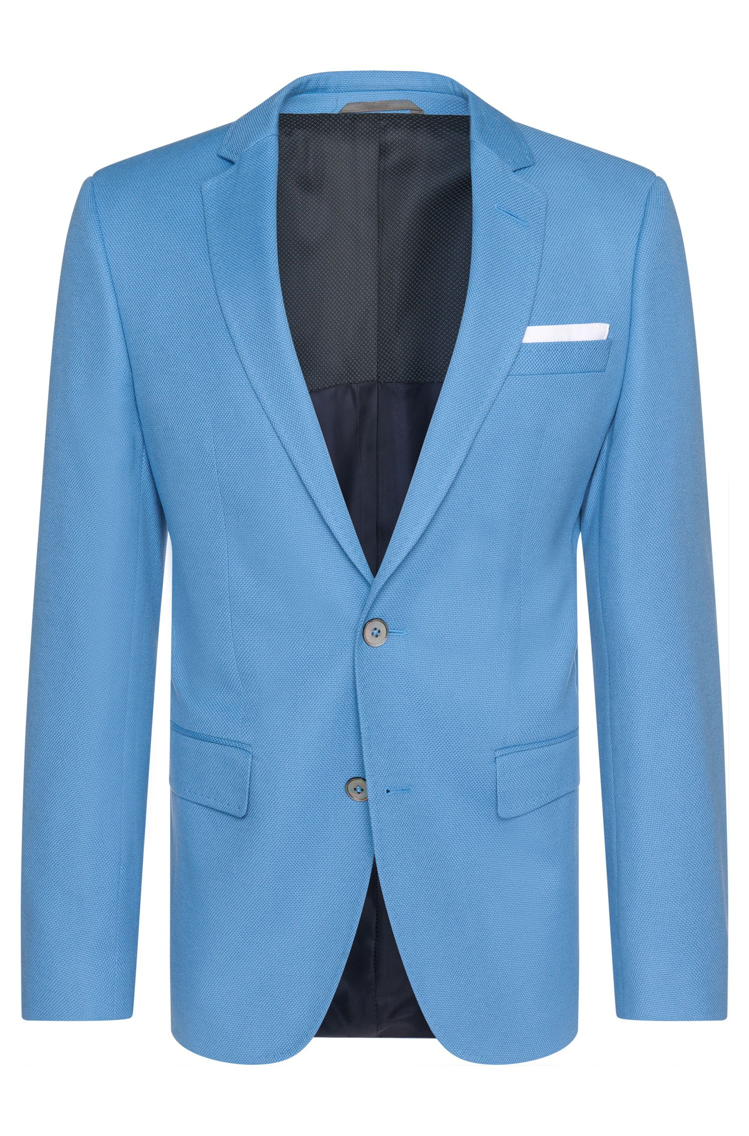 Slim-fit jacket in cotton with integrated pocket square: 'Hutson3'