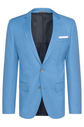 Slim-fit jacket in cotton with integrated pocket square: 'Hutson3', Light Blue