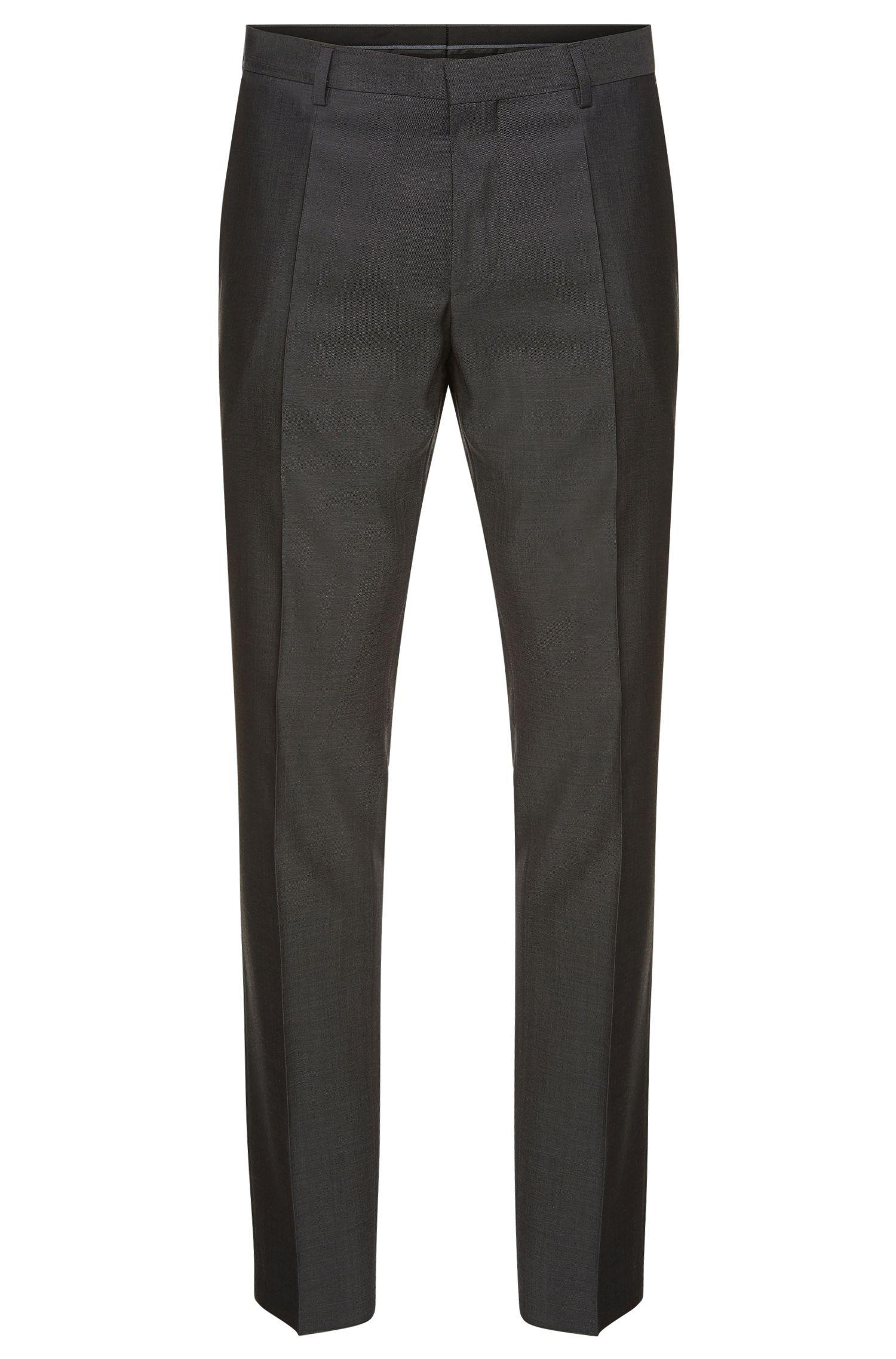 Pantaloni slim fit in lana vergine con fine motivo a disegni: 'Genesis2'