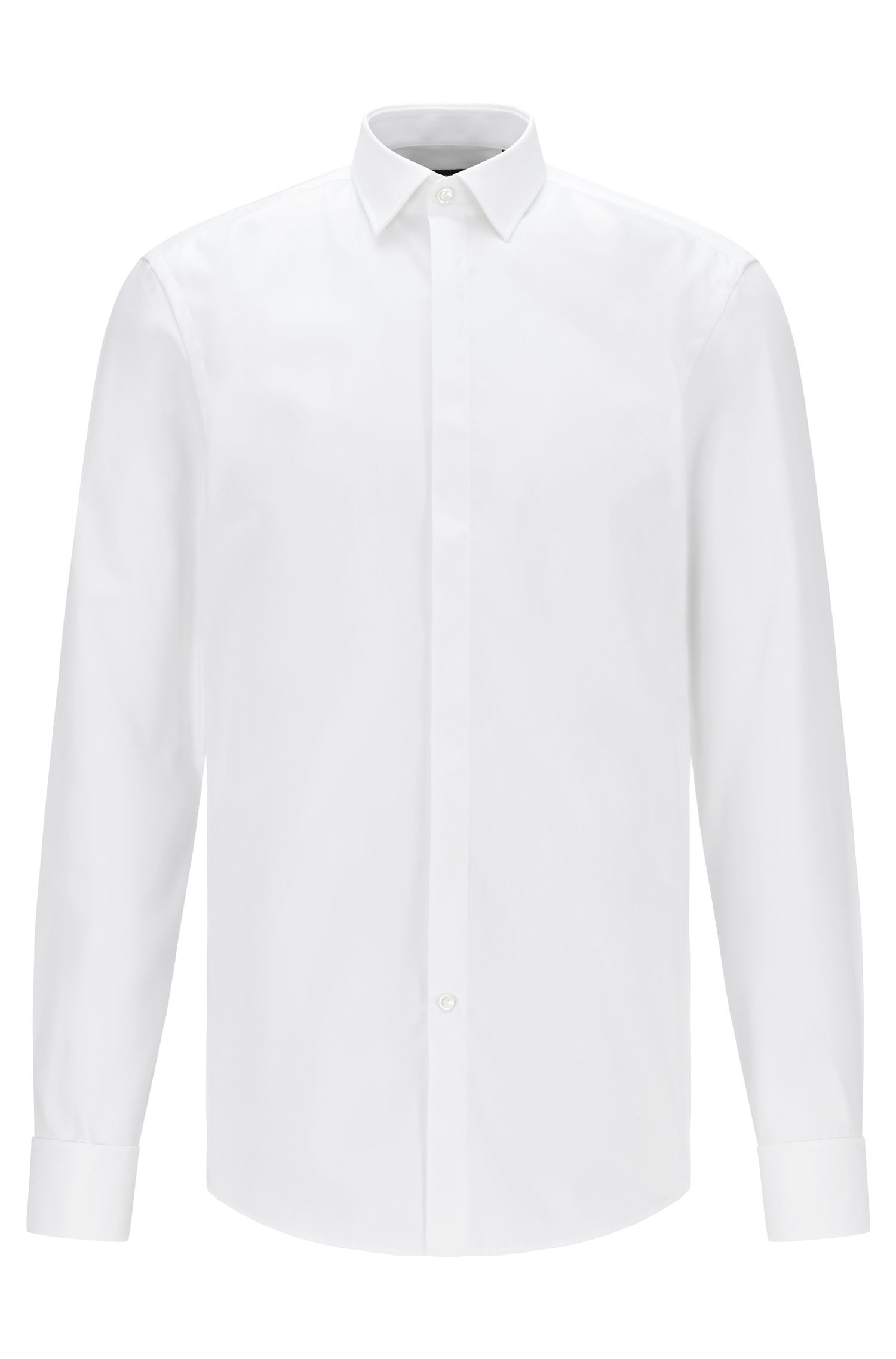 Camisa business slim fit en algodón con puños dobles, Blanco