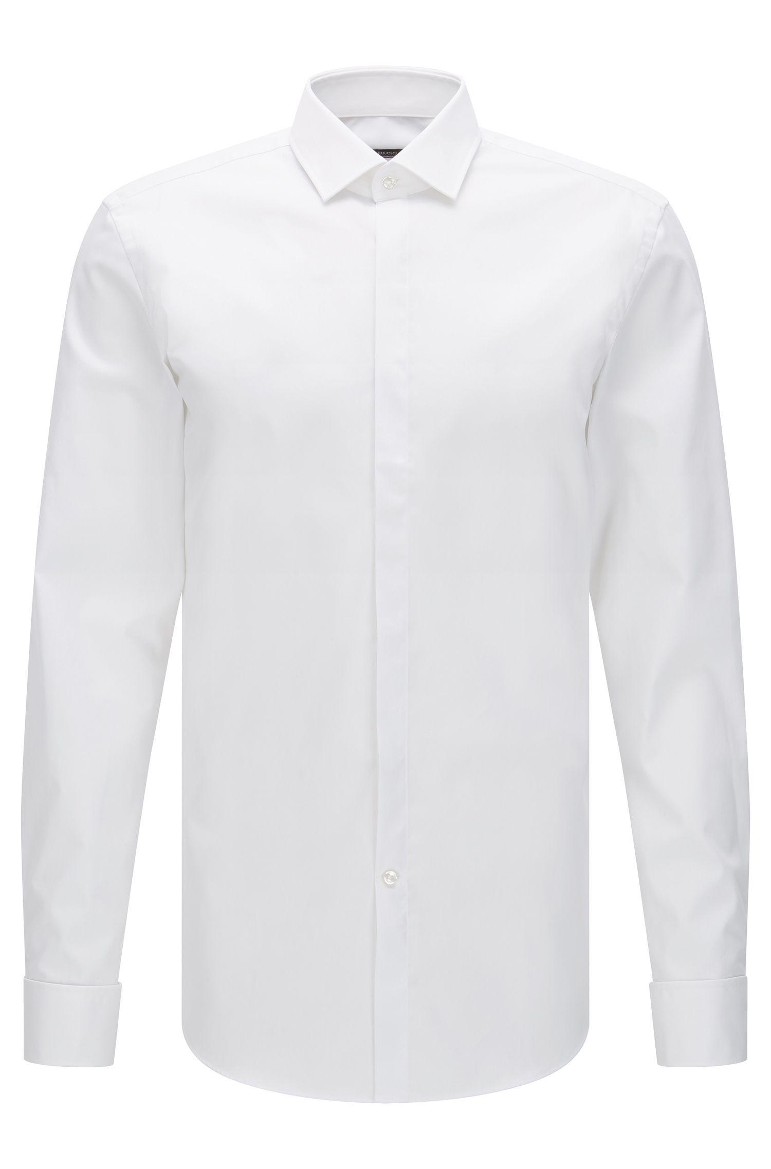 Slim-Fit Business-Hemd aus Baumwolle mit Umschlagmanschetten