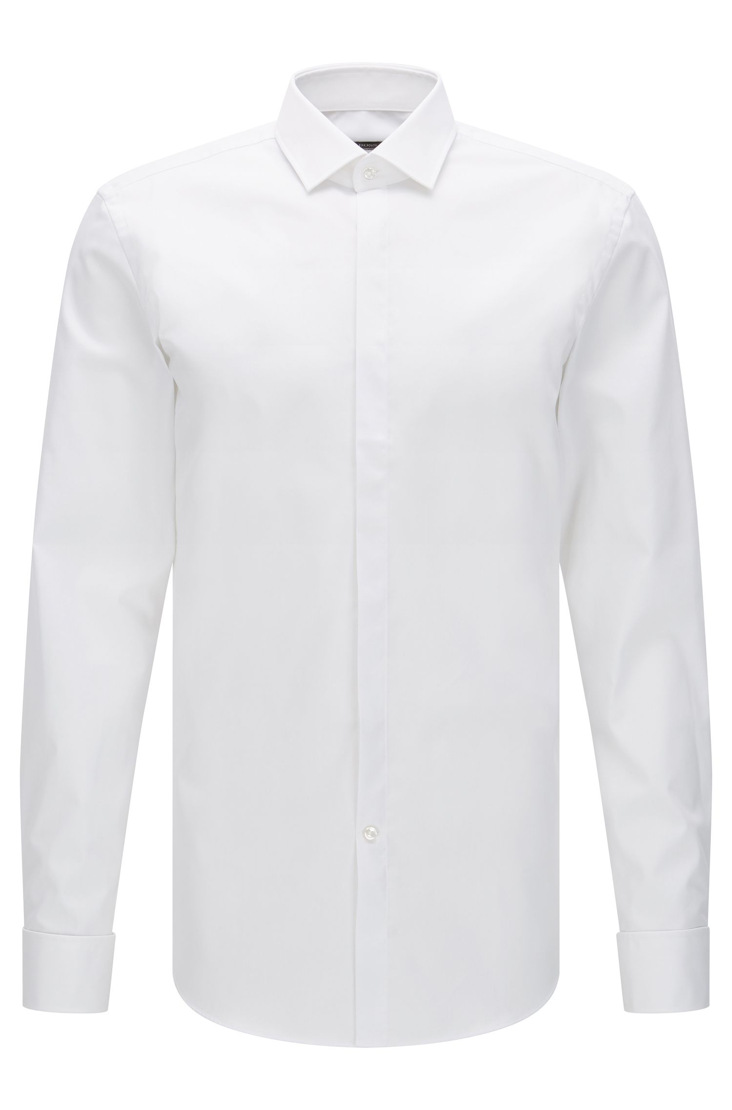 Slim-fit cotton business shirt with double cuffs