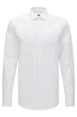 Slim-fit cotton business shirt with double cuffs, White