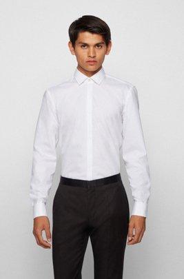 Slim-Fit Smoking-Hemd aus bügelleichter Baumwolle, Weiß