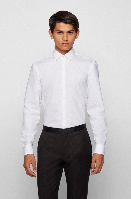 Camisa de noche slim fit en algodón de planchado fácil, Blanco