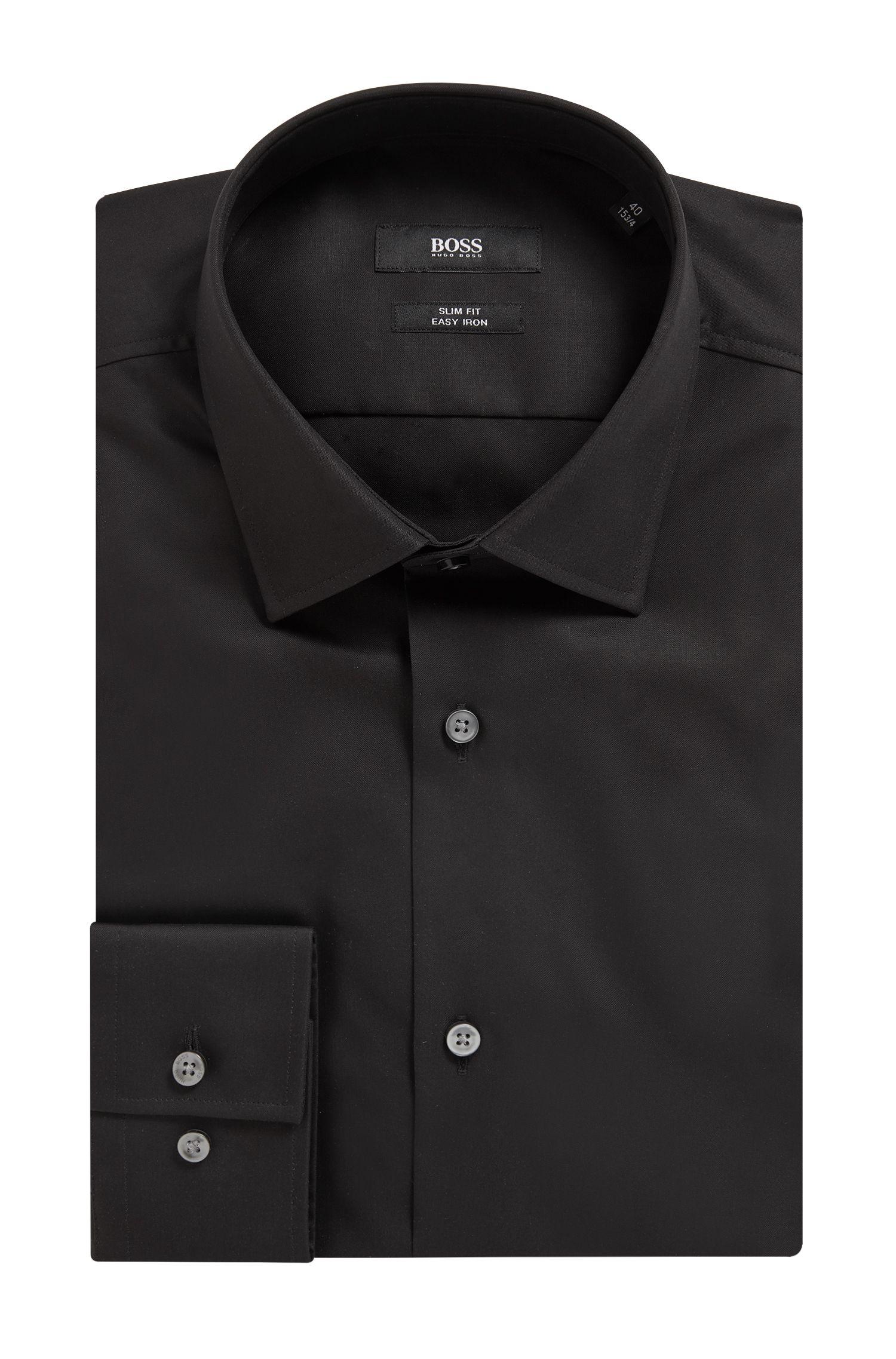 Chemise de bureau Slim Fit en popeline de coton, Noir