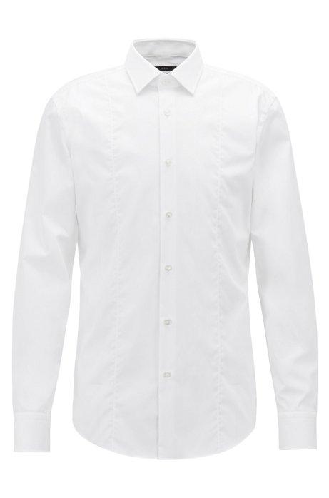 Slim-fit zakelijk overhemd van katoenen popeline, Wit