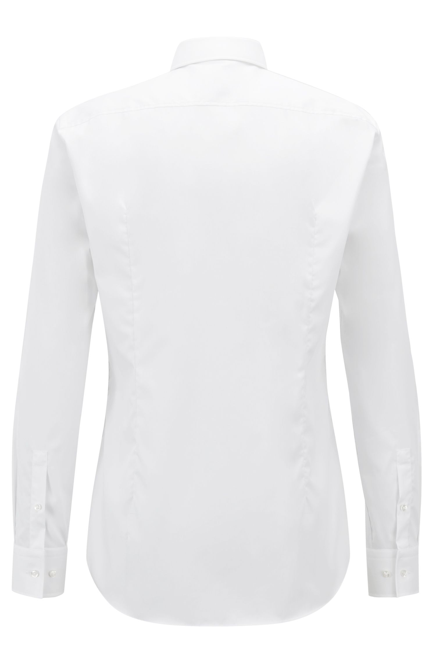 Slim-fit business shirt in cotton poplin, White