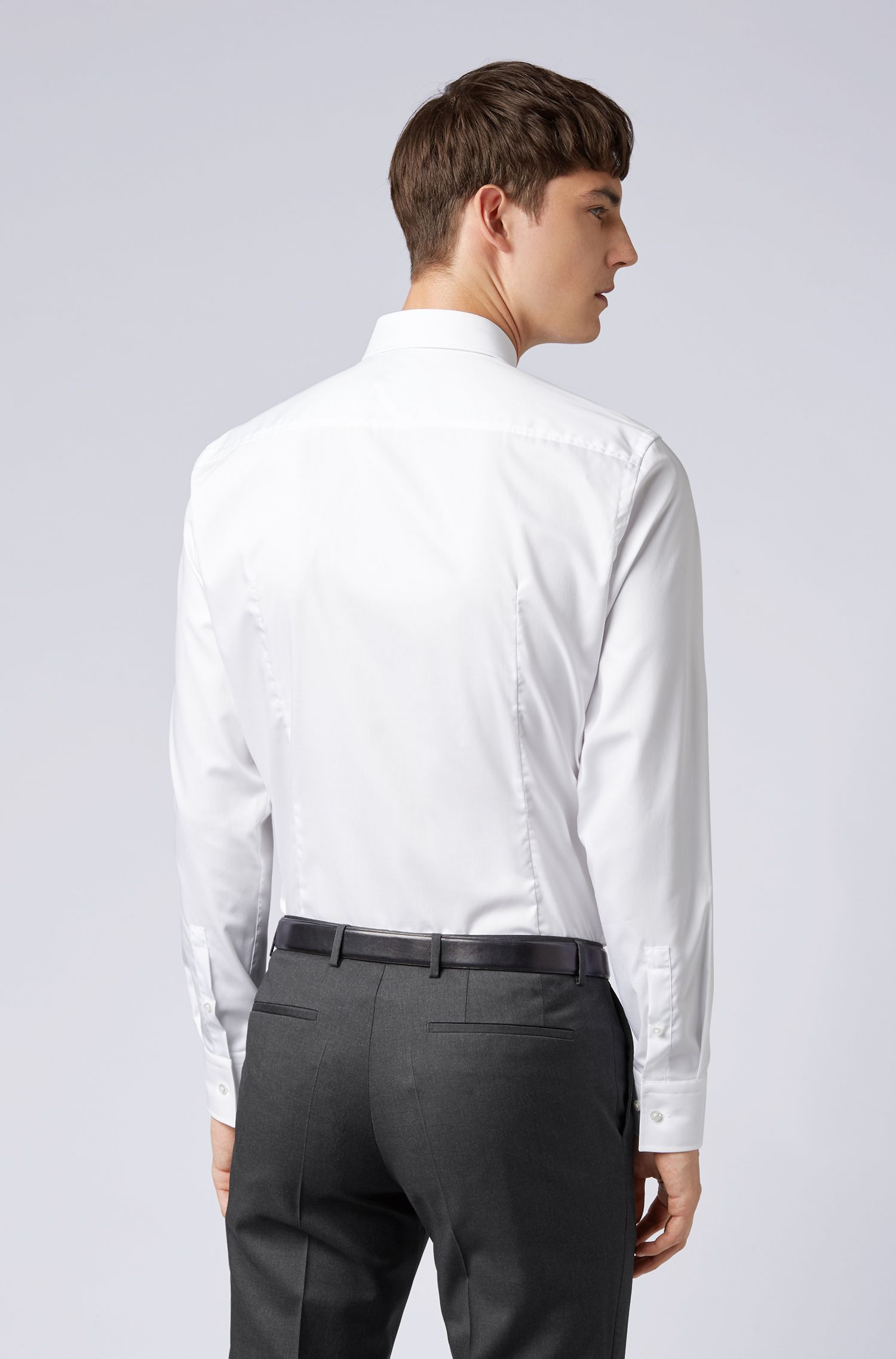 Camisa business slim fit en popelín de algodón, Blanco