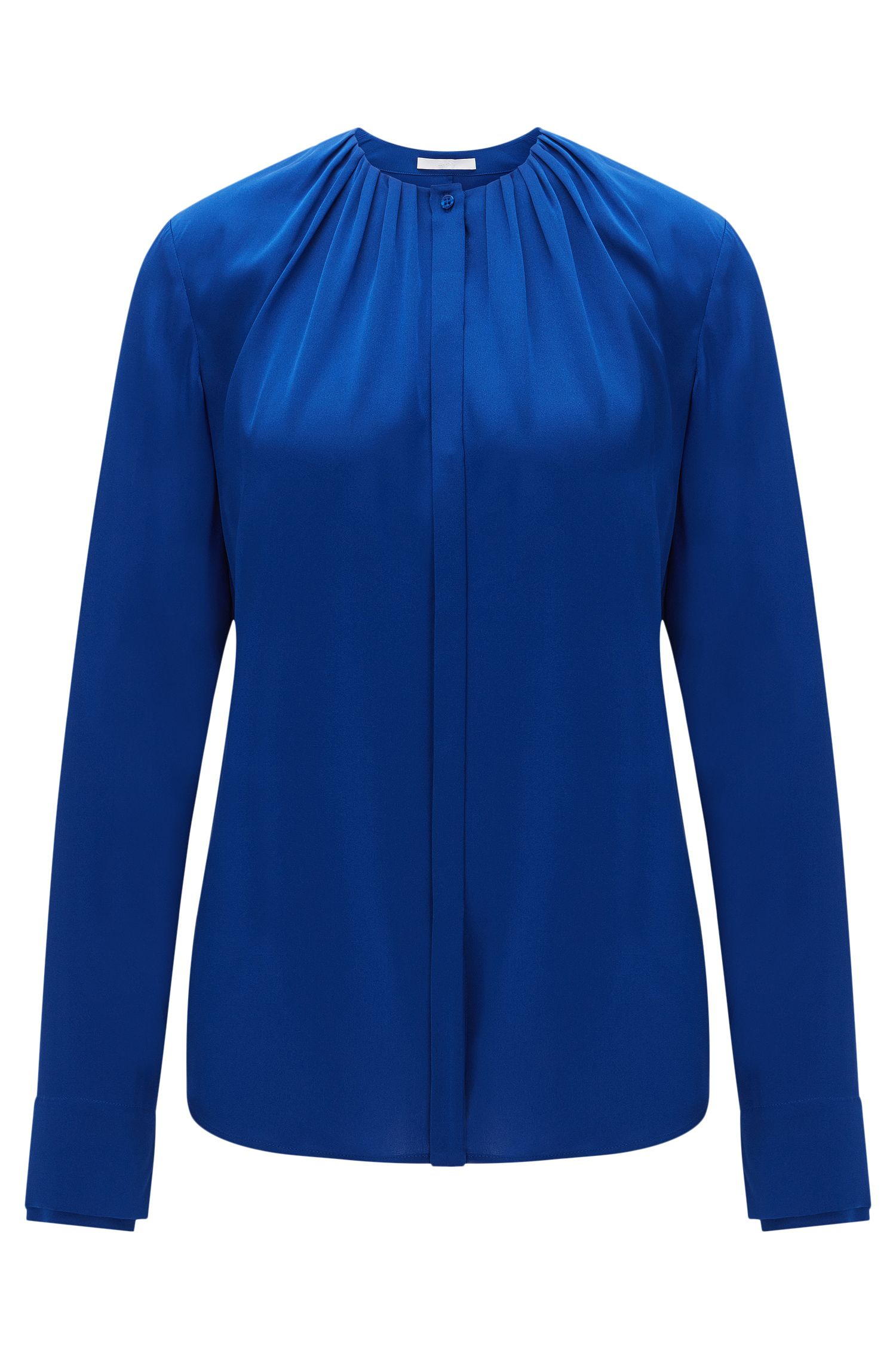 Blouse in stretch silk with concealed button placket: 'Banyra'