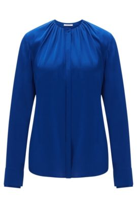 Blouse in stretch silk with concealed button placket: 'Banyra', Blue