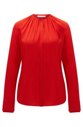 Blouse in stretch silk with concealed button placket: 'Banyra', Red