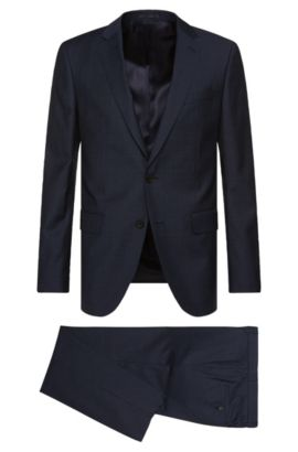 Slim-fit suit in textured new wool: 'Novan3/Ben', Dark Blue