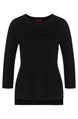 Jersey liso en mezcla de algodón con viscosa y seda: 'Saloma', Negro