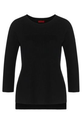 Unifarbener Pullover aus Baumwoll-Mix mit Viskose und Seide: 'Saloma', Schwarz