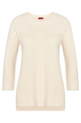 Unifarbener Pullover aus Baumwoll-Mix mit Viskose und Seide: 'Saloma', Natur