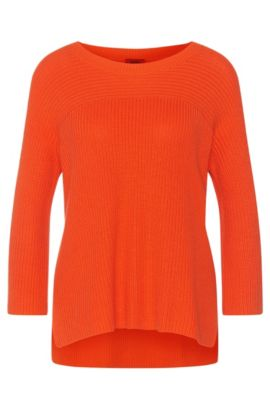 Plain sweater in cotton blend with viscose and silk: 'Saloma', Orange