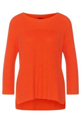 Pull uni en coton mélangé à teneur en viscose et soie: «Saloma», Orange