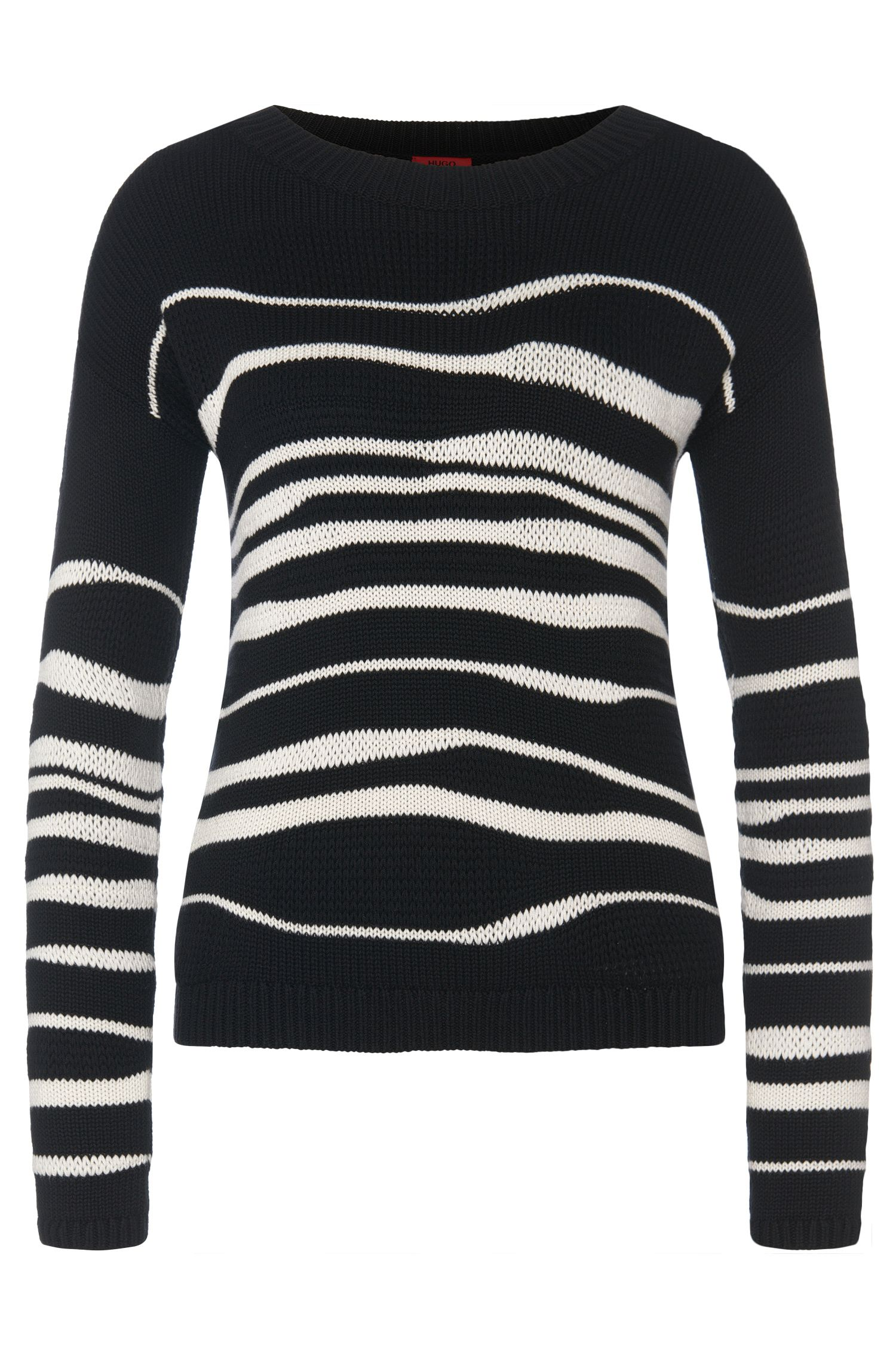 Patterned sweater in cotton blend with viscose and silk: 'Samica'