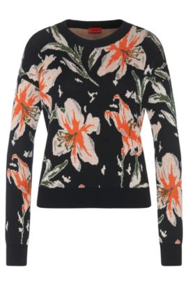 Patterned sweater in cotton blend with viscose and silk: 'Sanira', Patterned
