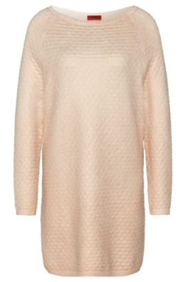 Long sweater in cotton blend with viscose and silk: 'Saskiara', Natural