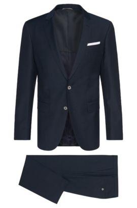 Geruit slim-fit kostuum van scheerwol: 'Hutson4/Gander1', Donkerblauw
